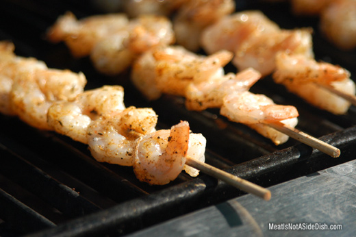 Skewered Shrimp Grilled